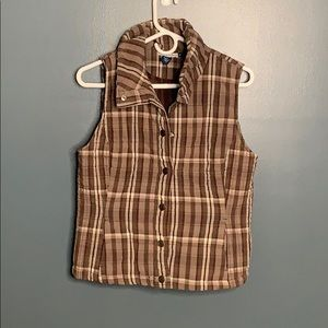 Bandolino plaid quilted vest
